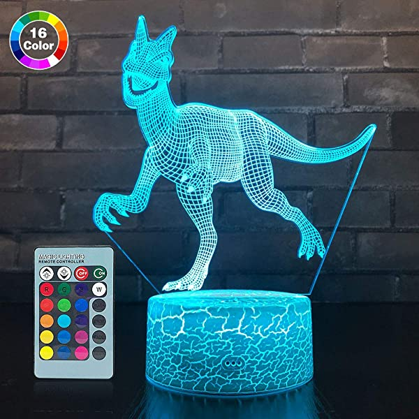 SETIFUNI Dinosaur Lamp Dinosaur Gifts Dinosaur Party Supplies 16 Colors Change With Remote Control Optical Illusion Bedside Lamps Birthday Gifts For Boys Or Girls Age 3 4 5 6 7 Year Old Gifts