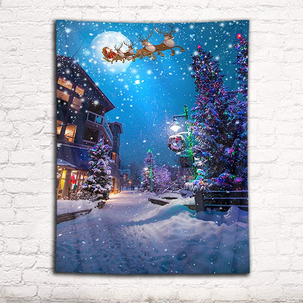 最大限遊具コンプリートLB クリスマス飾り タペストリー 雪景とクリスマスツリー おしゃれ壁掛け 装飾布 欧米風 インテリア デコレーション 多機能 パーティー イベント用 リビング お店 個性ギフト 人気 お祝い (200x150cm)