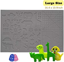 dikale 3D Pen Mat 16.4 x 10.9 inch, 3D Printing Pen Silicone Design Mat with Basic and Animal Patterns, Large Silicone Mat with 2 Finger Protectors, 3D Pens Drawing Tools for Kids and 3D Pen Artists