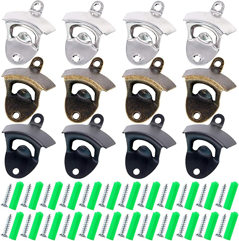 Glarks 12Pcs Silver Bronze Black Wall Mounted Bottle Opener Set For Beer Cap Coke Bottle Wine Soda Open And Kitchen Cafe Bars With Mounting Screws