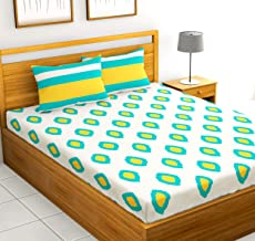 Loreto - A Quality Linen Brand 144 TC 100% Cotton Double Bedsheet with 2 Pillow Covers - Yellow and Grey