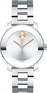 Movado Women's BOLD Iconic Metal Stainless Watch with a Flat Dot Sunray Dial, Silver/Grey (3600433)