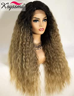 K'ryssma Ombre Lace Front Wig Blonde Deep Side Parting Long Curly Synthetic Wigs for Women 130% Density 22 inches Blonde Curly Wig