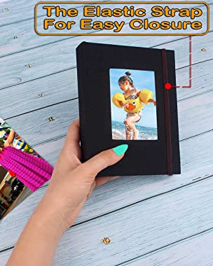 Small Photo Album 4x6 – Clear Pages, Linen Cover with Front Window, Pack of 2, Each Small Album Holds 52 Photos, Small Brag B