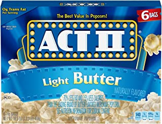 ACT II Light Butter Microwave Popcorn Bags, 6-Count (Pack of 6)