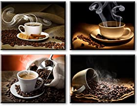 Coffee Theme Kitchen Decor, SZ 4 Piece Hot Coffee Beans Picture Canvas Wall Art, Contemporary Canvas Prints (Waterproof Ar...