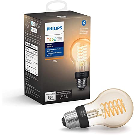 Philips Hue White Dimmable Filament A19 Smart Edison Vintage LED bulb, Bluetooth & Hub compatible (Hue Hub Optional), voice activated with Alexa