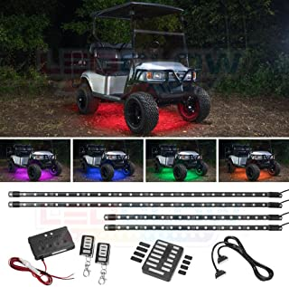LEDGlow 4pc Million Color LED Golf Cart Underglow Accent Neon Lighting Kit for EZGO Yamaha Club Car - Fits Electric & Gas Golf Carts - Water Resistant - Includes Control Box & Wireless Remotes