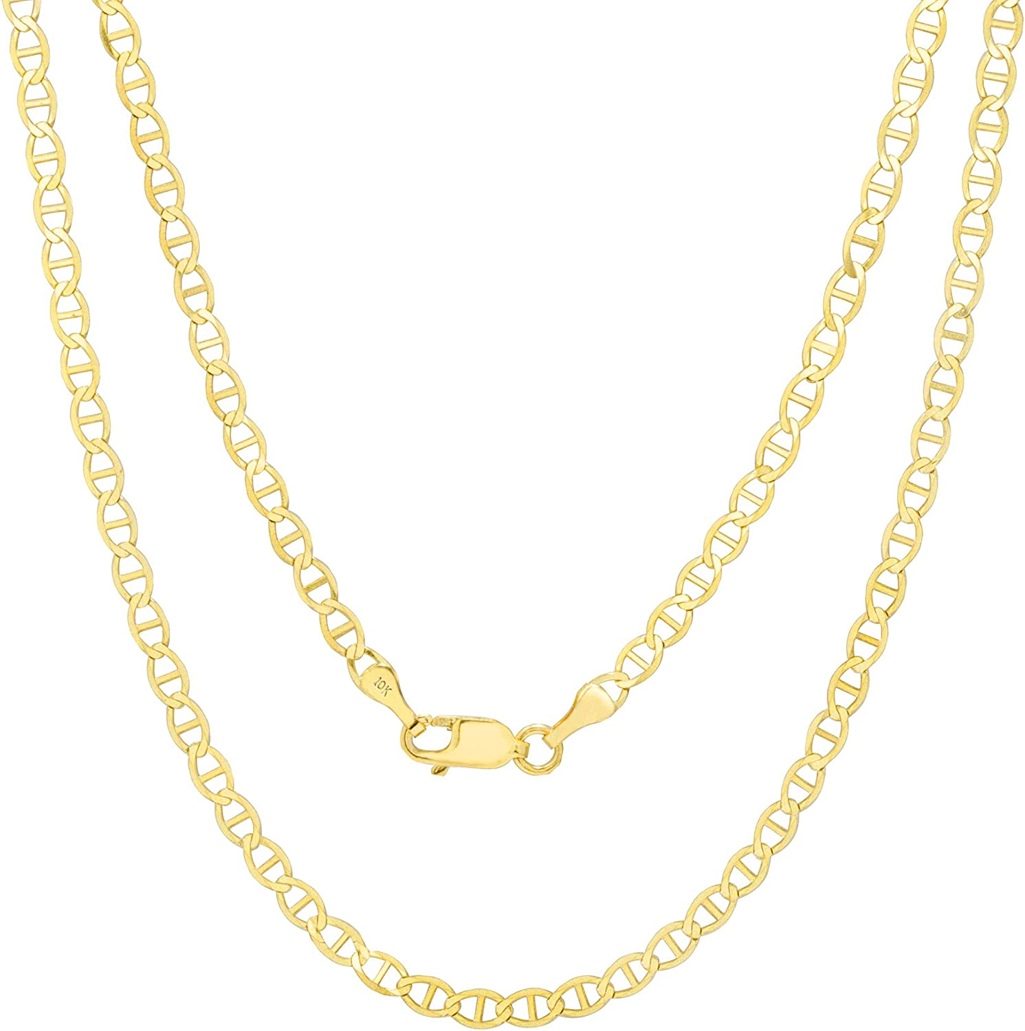 Nuragold 10k Yellow Gold Solid 3mm Anchor Mariner Link Chain Pendant Necklace, Womens Mens Lobster Lock 16
