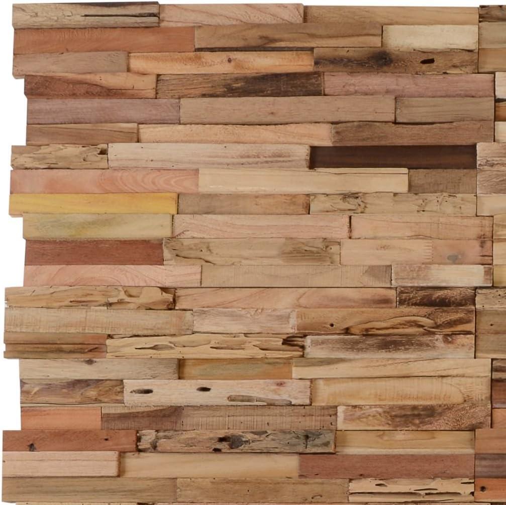 Festnight 10 Pz Pannelli di Rivestimento Parete//Decorazione Muro//Pannelli di Decorazioni 1 m/² in Legno di Teak Riciclato Multicolore//Naturale