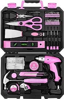 DEKO Pink 98 Piece Tool Set,General Household Hand Tool Kit with Plastic Toolbox Storage Case