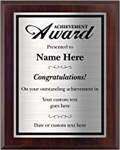 Personalized Achievement Award for Students and Employees, Accomplishment at Work, School, or Graduation Plaque. 8x10 - Customize Now!