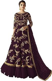 Comet Enterprise Women's Butterfly Net Anarkali Gown (Wine; Free Size)