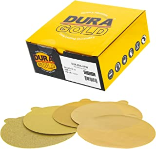 """Dura-Gold Premium - Variety Pack - 6"""" Gold PSA Self Adhesive Stickyback Sanding Discs for DA Sanders -10 of Each Grit (80,..."""