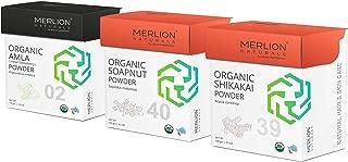 Organic Amla, Aritha and Shikakai Powder by Merlion Naturals | Hair Care Combo | 300gm/ 10.5OZ | USDA NOP Certified 100% Organic (3 Pack of 100gm)