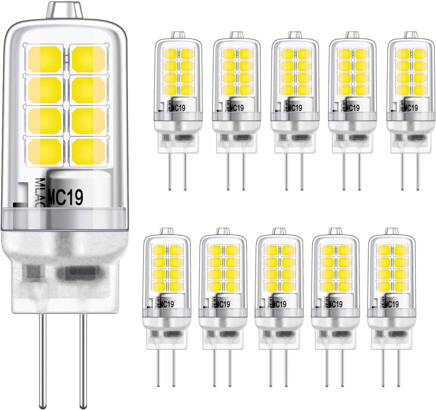 LED G4 Bulbo 2W Equivalente a 20W Halógeno Bombillas, Blanco frío 6000K, g4 Enchufe El ahorro de energía , Sin parpadeo, No regulable, 320LM, 12V AC / DC, Paquete de 10