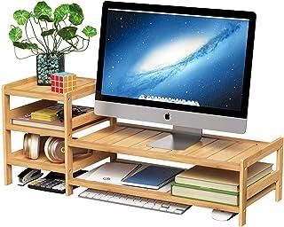 پایه مانیتور بامبو HOMECHO ، 2 ردیف رومیزی ، قفسه لپ تاپ چوبی با سازمان دهنده ذخیره سازی و لوازم جانبی چاپگر تلویزیون تلفن همراه خانگی و مطب ، طبیعی