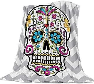 SODIKA Throw Blanket for Couch Bed Sofa Chair,Luxury Decorative Flannel Fleece Microfiber Throw Blankets,Chevron Sugar Skull Twin Size 40