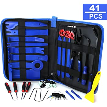 Fastener and Clip Remover Additional Radio Removal Keys and Tire Gap Thread Remover,Yellow UTOOL 19PCS Trim Removal Tool for Auto Automotive Panel Trim with Organizer