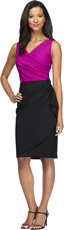 Alex Eveninngs Women's Sleeveless colorblock Cocktail Dress