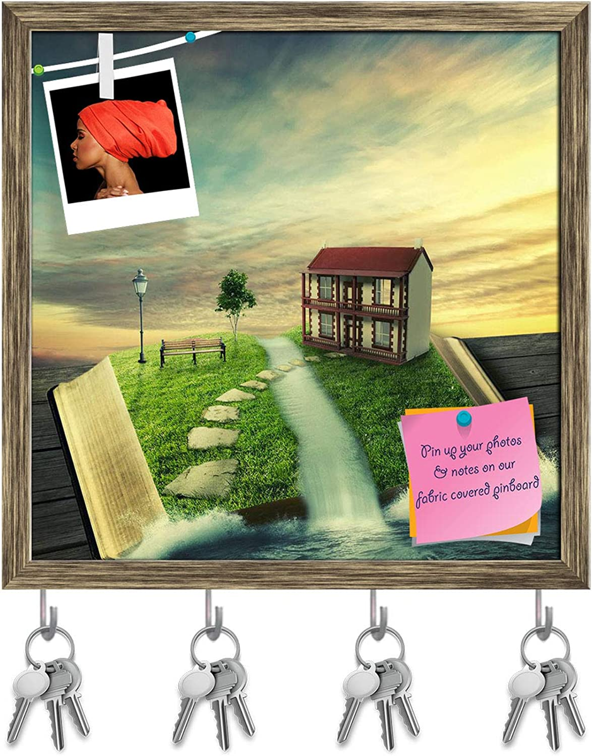 Artzfolio Magic Book with Family Home, Covered with Grass Key Holder Hooks   Notice Pin Board   Antique golden Frame 20 X 20Inch