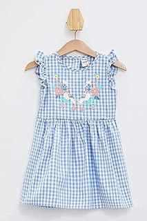 DeFacto Kız Bebek Kareli Fırfır Detaylı Elbise