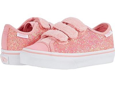 Vans Kids Style 23 V (Little Kid) ((Faux Fur Glitter) Flamingo Pink/True White) Girl
