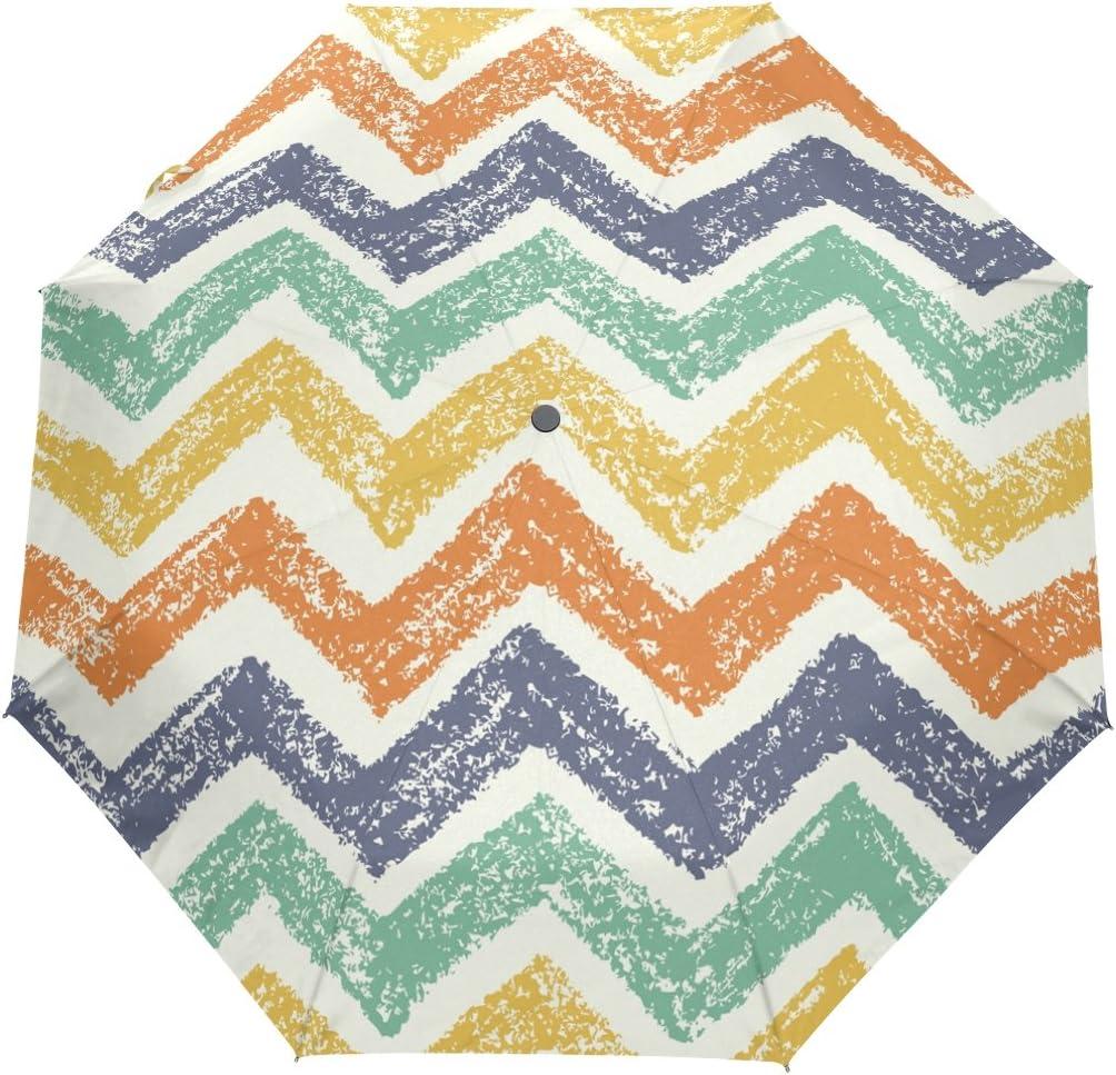 JSTEL Watercolor Cheevron Windproof UV Umbrellas Las Vegas Mall New sales Open Auto Close