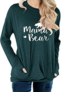 Women Mama Bear Sweatshirt for Mom Letter Print Shirt Loose Round Neck Tops with Pocket