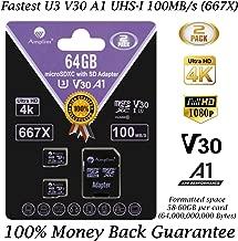 2-Pack 64GB Micro SD Card Plus Adapter. Amplim 2X 64 GB MicroSD SDXC Card 100MB/s V30 A1 U3 C10 UHS-I 4K Video MicroSDXC Memory Card for Cell Phone Nintendo GoPro Camera Galaxy LG Moto DJI Drone Fire