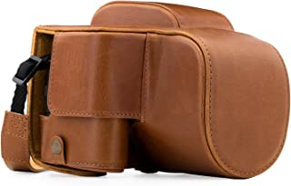 MegaGear Panasonic Lumix DC-FZ80, FZ82 Ever Ready Leather Camera Case and Strap, with Battery Access - Light Brown - MG1225