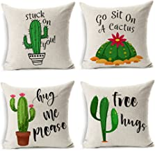 MIULEE Pack of 4 Summer Style Cactus Decor Throw Pillow Cover Green Plants Decorative Cotton Linen Burlap Square Cushion Cover Pillow Case for Car Sofa Bed Couch 18 x 18 Inch