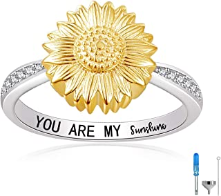 Sunflower Urn Ring You are My Sunshine 925 Sterling Silver Keepsake Memorial Cremation Urn Ring for Ashes for Women