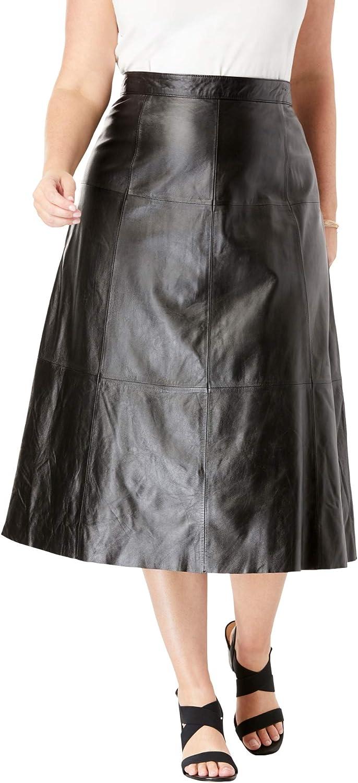 Jessica London Women's Plus Size Leather Midi Skirt