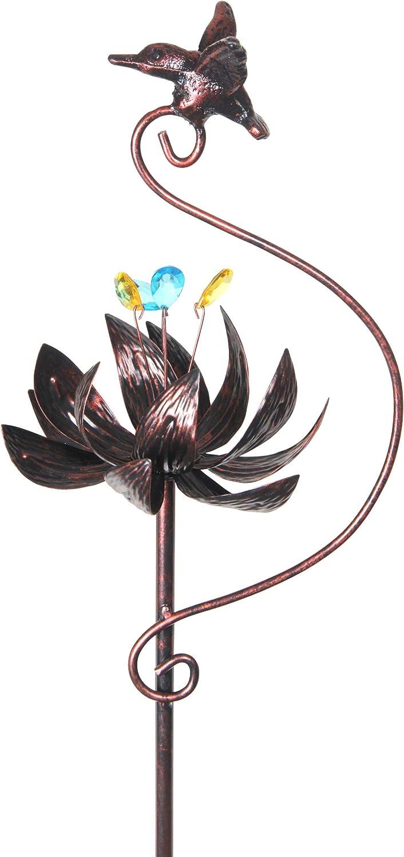 Exhart San Jose Mall Kinetic Ranking TOP17 Bronze Metal Spinning Hummingbird – Stake Garden