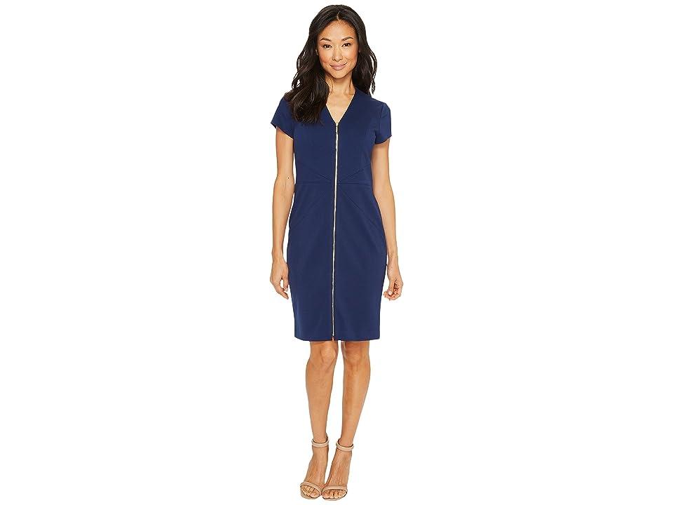 Ellen Tracy Short Sleeved Ponte Dress with Front Zipper (Navy) Women