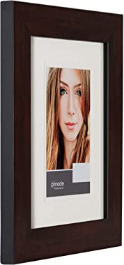 """Gallery Solutions 11x14 Wall Mount Double White Mat for 8x10 Photo Picture Frame, 11"""" x 14"""", Walnut"""