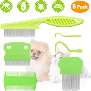 BENSEAO Flea Comb for Cats Dogs Fine Tooth Comb Pet Comb Grooming Set Remove Float Hair Tear Marks Tick Removal Tool
