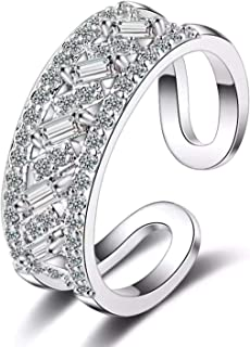 925 Sterling Silver women's ring of Zircon Stones, Adjustable Rings for Women