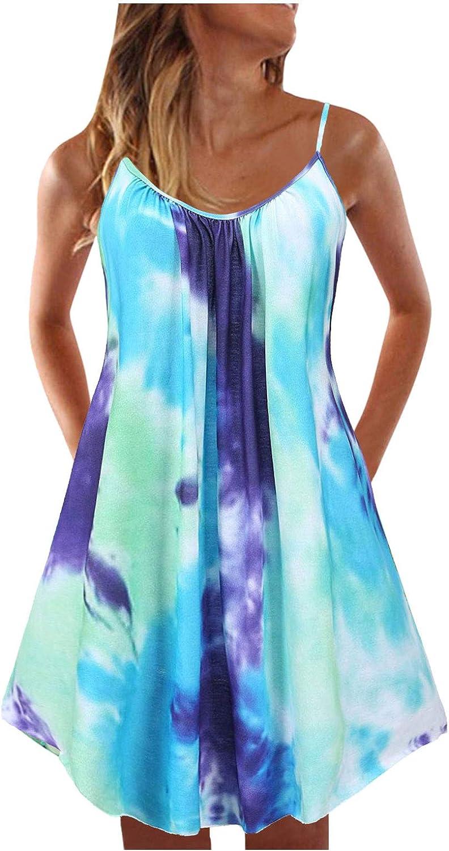 Toeava Women Summer Tank Dress,Womens Bohemian Casual Spaghetti Strap Print Dress Sleeveless Cocktail Party Beach Dress