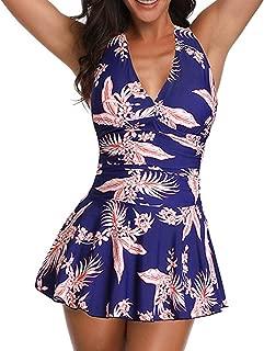 Century Star Two Piece Swimdress Tummy Control Slim Skirt Tankini Ruched Retro Swimsuit Bathing Suit for Women
