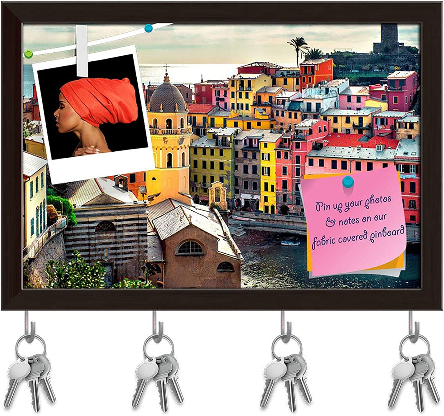 Artzfolio View of Vernazza Town, Liguria, Northwestern  Key Holder Hooks   Notice Pin Board   Dark Brown Frame 14.5 X 10Inch