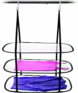 Homz Sweater, Delicates, Swimsuit, 3 Tier Drying Surface, 10Lb Capacity Hanging Dryer, Set of 1, Black