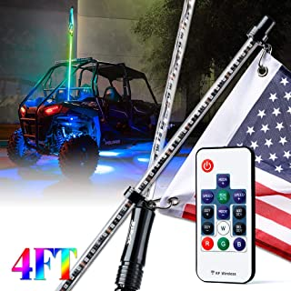 Xprite 4ft (1.2M) LED Whip Lights Waterproof Dancing Lamp RGB Chasing Light Bar with Remote Controlled for Offroad Jeep Sand Dune Buggy Can Am UTV ATV Polaris RZR 4X4 Trophy Truck