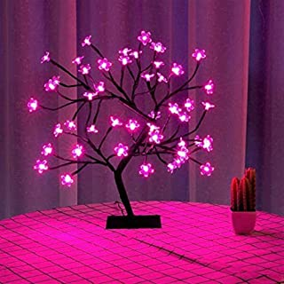 Bonsai Tree Light Artificial Tree Led Flower Lights Cherry Blossom Adjustable Branches Room Decoration and Gift(pink)