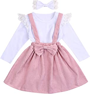 Infant Baby Girl Skirt Set Ruffle Long Sleeve T-Shirt Tops + Pink Strap Skirt and Bow Headband Fall Winter Outfits
