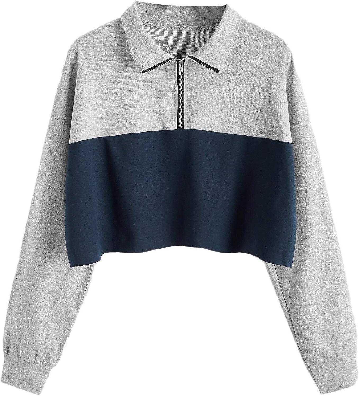 SweatyRocks Women's Quarter Zip Up Color Block Long Sleeve Pullover Sweatshirt Crop Top