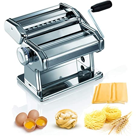 Amazon Com Pasta Machine 150 Roller Manual Pasta Makers With 7 Adjustable Thickness Setting 2 In 1 Dough Cutter Hand Crank And Instructions Kitchen Gift Set For Homemade Noodle Dumpling Skin Spaghetti Kitchen Dining