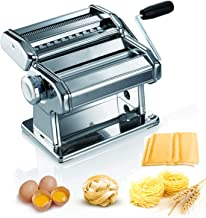 Pasta Machine, 150 Roller Manual Pasta Makers with 7 Adjustable Thickness Setting, 2 in 1 Dough Cutter, Hand Crank and Ins...
