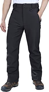 Outdoor Ventures Men's Lite Waterproof Windproof Fleece Lined Warm Hiking Ski Snow Pants Expandable-Waist